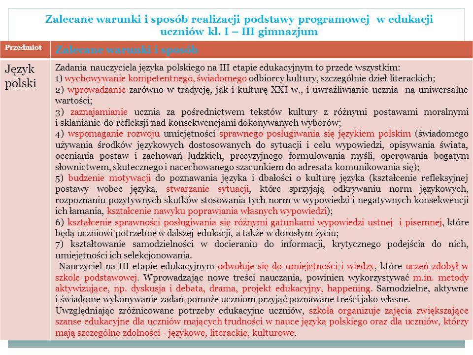Zalecane warunki i sposób realizacji podstawy programowej w edukacji uczniów kl. I – III gimnazjum
