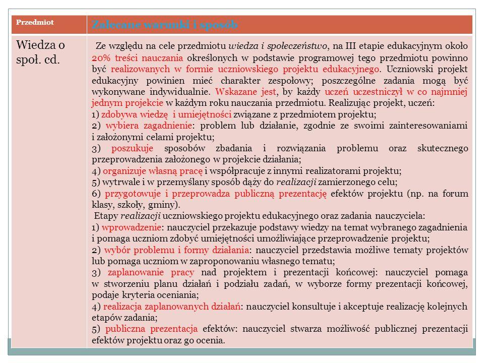Przedmiot Zalecane warunki i sposób. Wiedza o społ. cd.