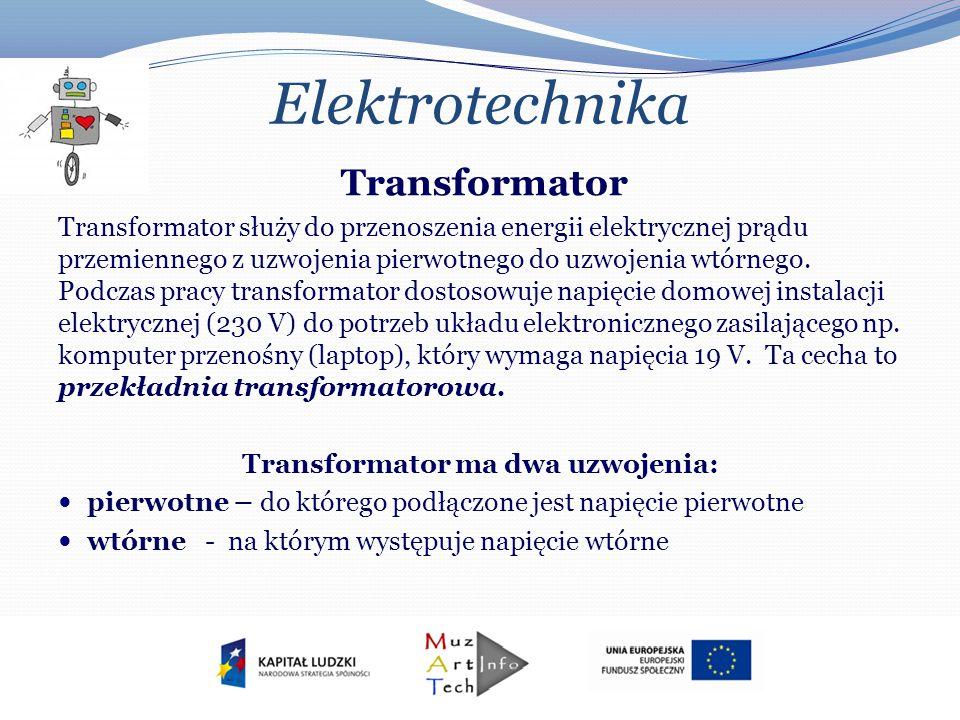 Transformator ma dwa uzwojenia: