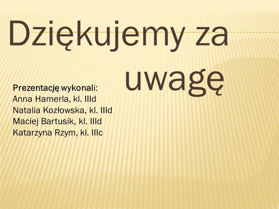 Dziękujemy za uwagę Prezentację wykonali: Anna Hamerla, kl. IIId