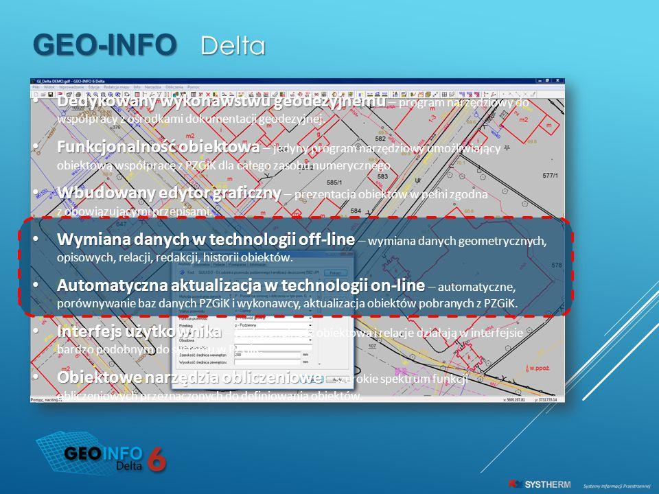 GEO-INFO Delta. Dedykowany wykonawstwu geodezyjnemu – program narzędziowy do współpracy z ośrodkami dokumentacji geodezyjnej.