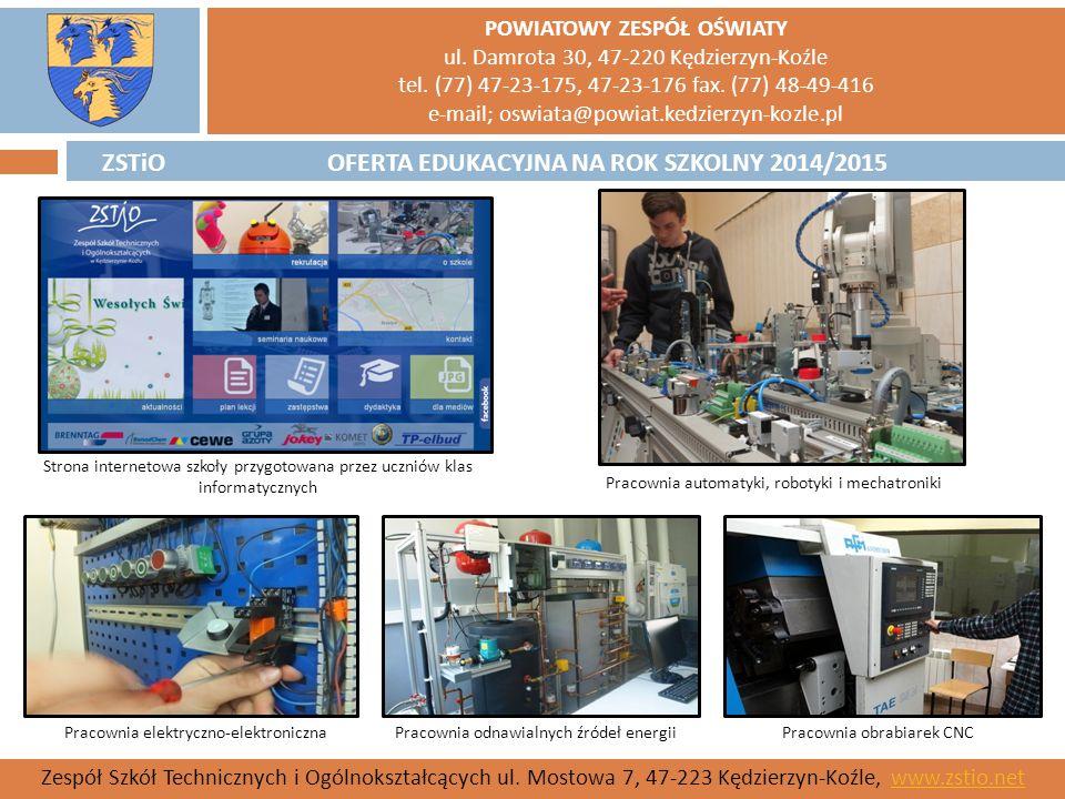 ZSTiO Strona internetowa szkoły przygotowana przez uczniów klas informatycznych. Pracownia automatyki, robotyki i mechatroniki.