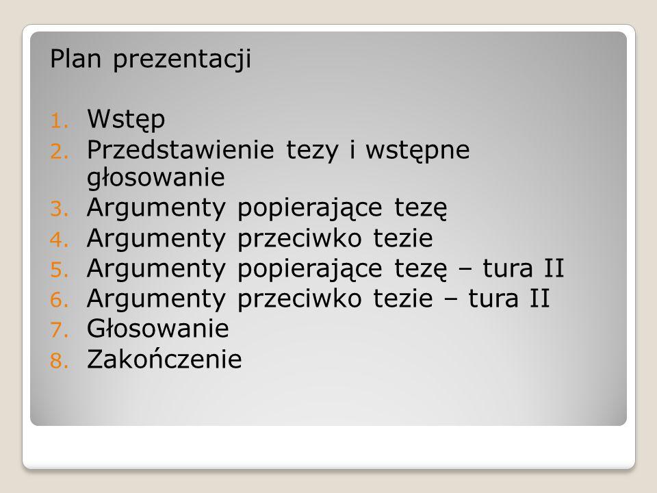 Plan prezentacji Wstęp. Przedstawienie tezy i wstępne głosowanie. Argumenty popierające tezę. Argumenty przeciwko tezie.