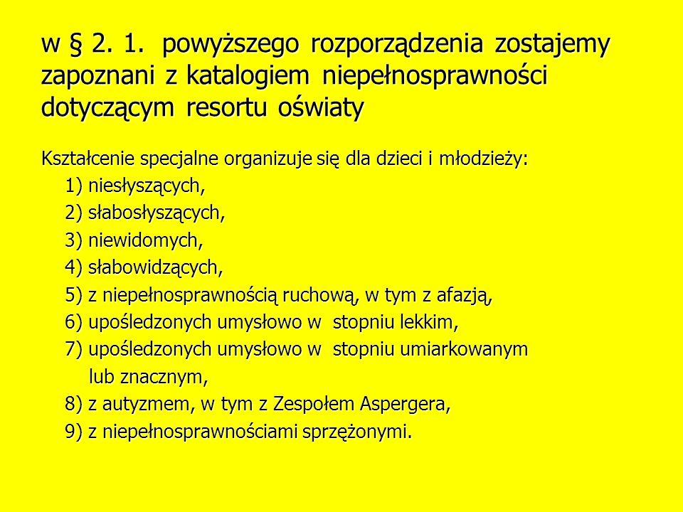 w § 2. 1. powyższego rozporządzenia zostajemy zapoznani z katalogiem niepełnosprawności dotyczącym resortu oświaty
