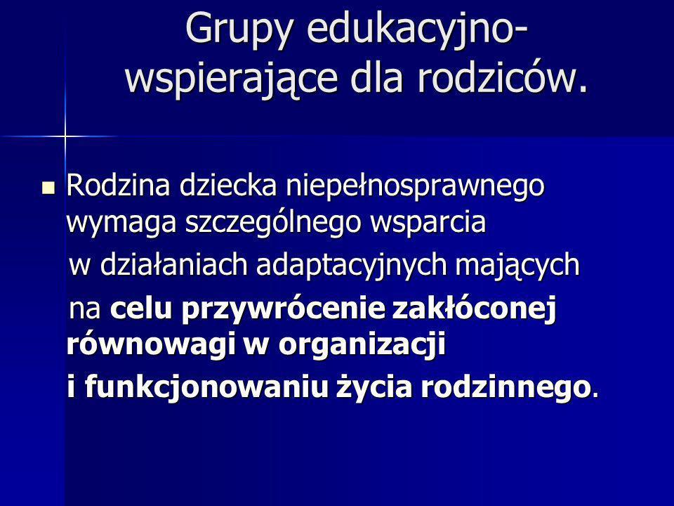 Grupy edukacyjno-wspierające dla rodziców.