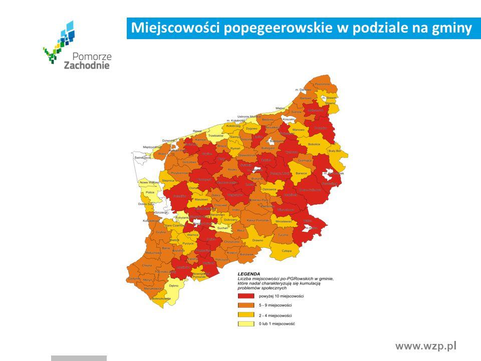 Miejscowości popegeerowskie w podziale na gminy
