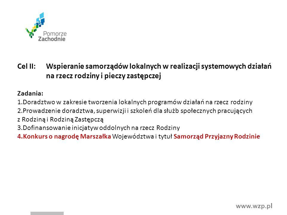 Cel II: Wspieranie samorządów lokalnych w realizacji systemowych działań na rzecz rodziny i pieczy zastępczej