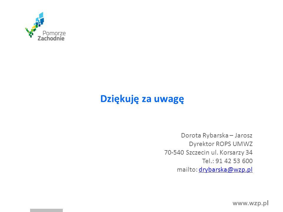 Dziękuję za uwagę Dorota Rybarska – Jarosz Dyrektor ROPS UMWZ