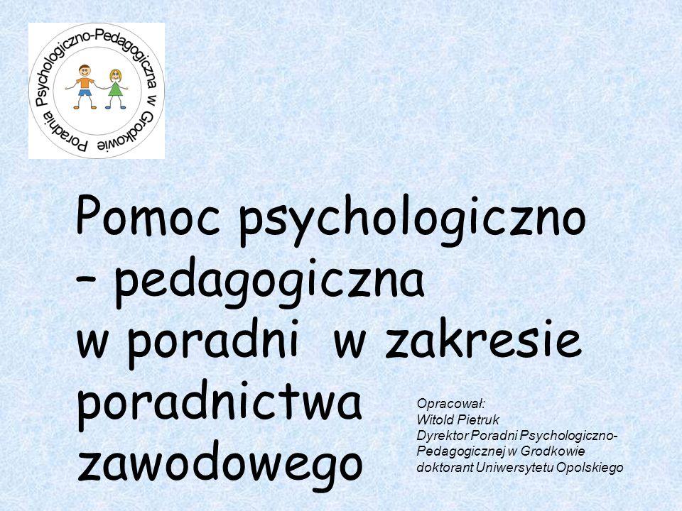 Pomoc psychologiczno – pedagogiczna w poradni w zakresie poradnictwa zawodowego