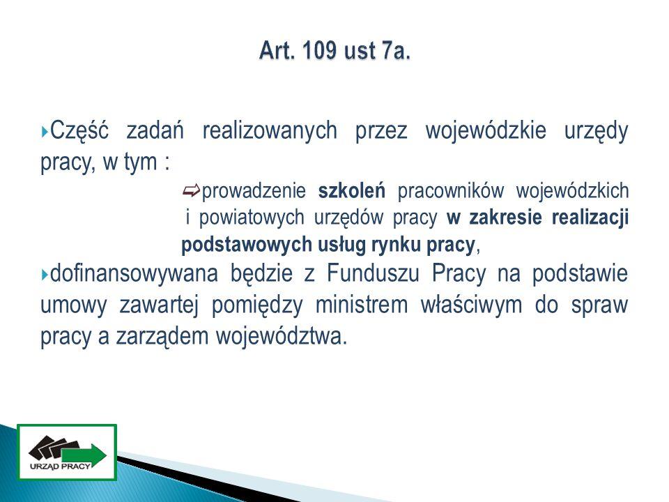 Część zadań realizowanych przez wojewódzkie urzędy pracy, w tym :