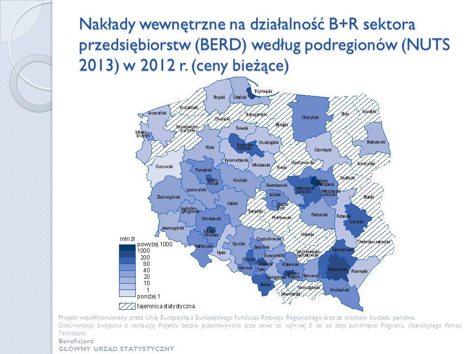 Nakłady wewnętrzne na działalność B+R sektora przedsiębiorstw (BERD) według podregionów (NUTS 2013) w 2012 r. (ceny bieżące)