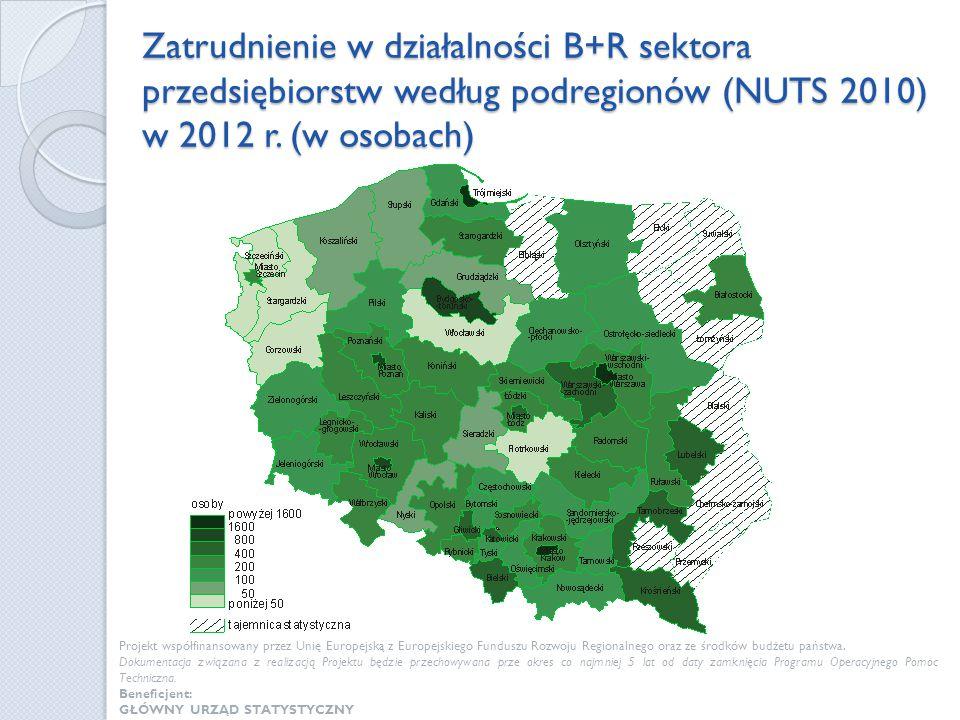 Zatrudnienie w działalności B+R sektora przedsiębiorstw według podregionów (NUTS 2010) w 2012 r. (w osobach)