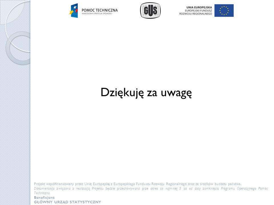 Dziękuję za uwagę Projekt współfinansowany przez Unię Europejską z Europejskiego Funduszu Rozwoju Regionalnego oraz ze środków budżetu państwa.