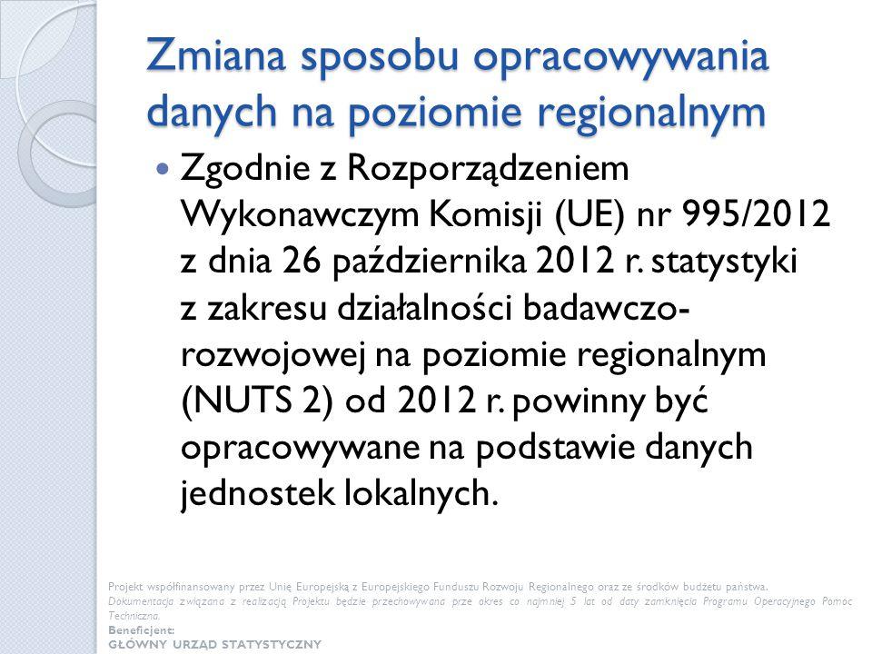 Zmiana sposobu opracowywania danych na poziomie regionalnym