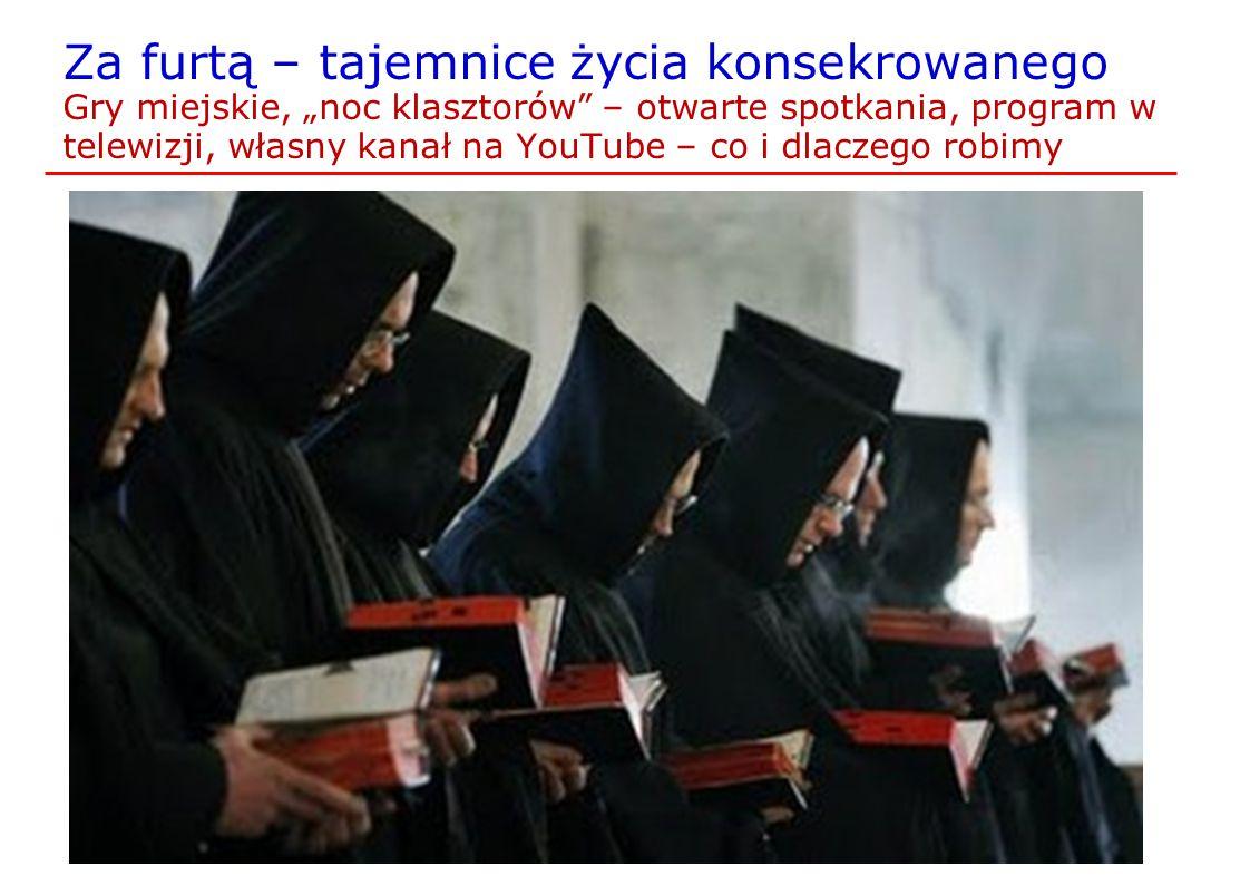 """Za furtą – tajemnice życia konsekrowanego Gry miejskie, """"noc klasztorów – otwarte spotkania, program w telewizji, własny kanał na YouTube – co i dlaczego robimy"""