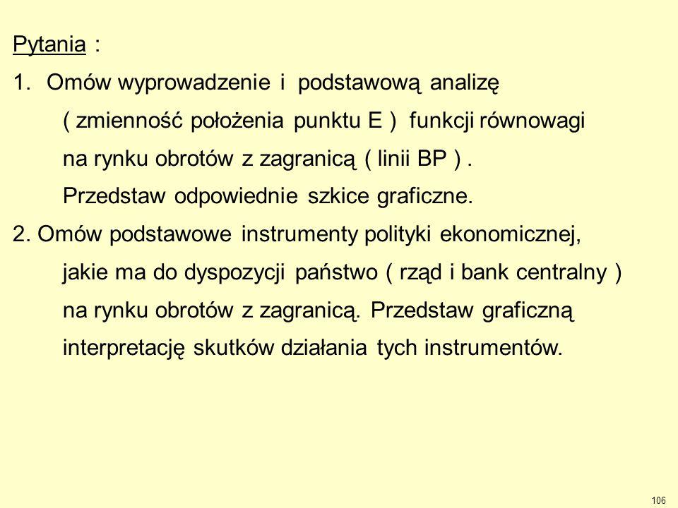 Pytania : Omów wyprowadzenie i podstawową analizę. ( zmienność położenia punktu E ) funkcji równowagi.