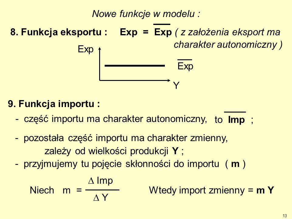 Nowe funkcje w modelu : 8. Funkcja eksportu : Exp = Exp ( z założenia eksport ma. charakter autonomiczny )