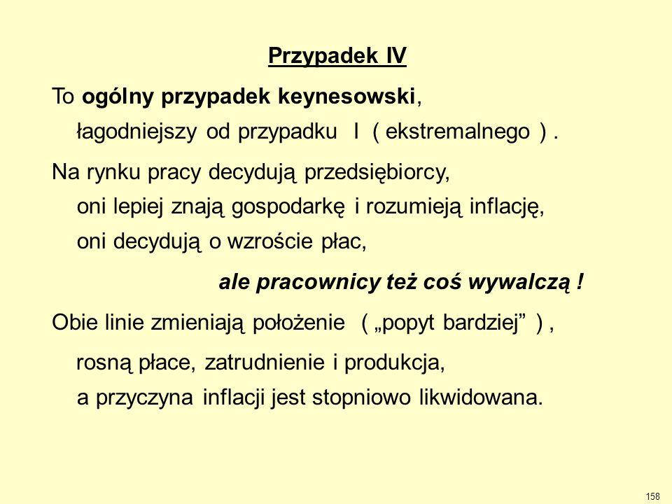 Przypadek IV To ogólny przypadek keynesowski, łagodniejszy od przypadku I ( ekstremalnego ) .