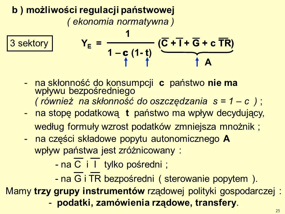 b ) możliwości regulacji państwowej ( ekonomia normatywna )