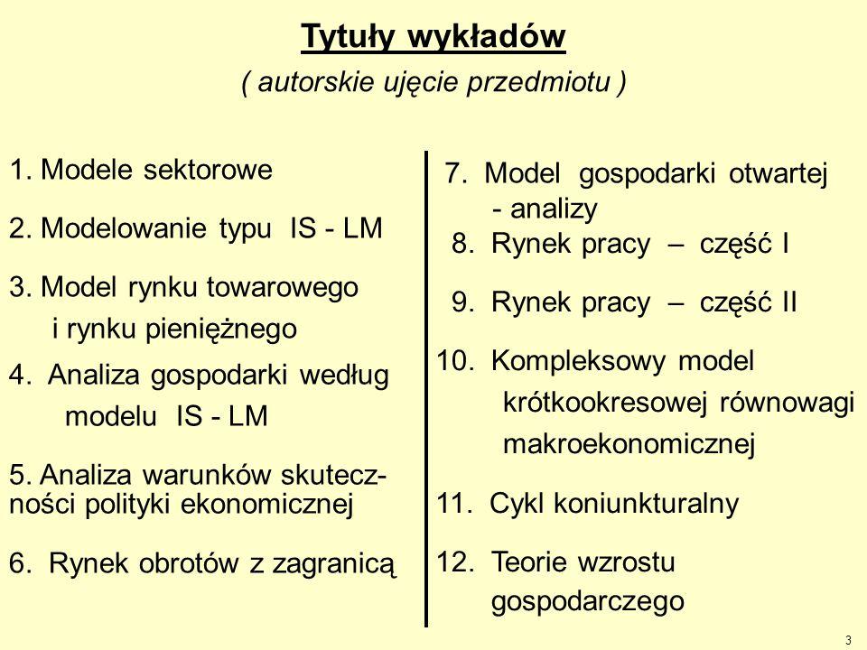 Tytuły wykładów ( autorskie ujęcie przedmiotu )