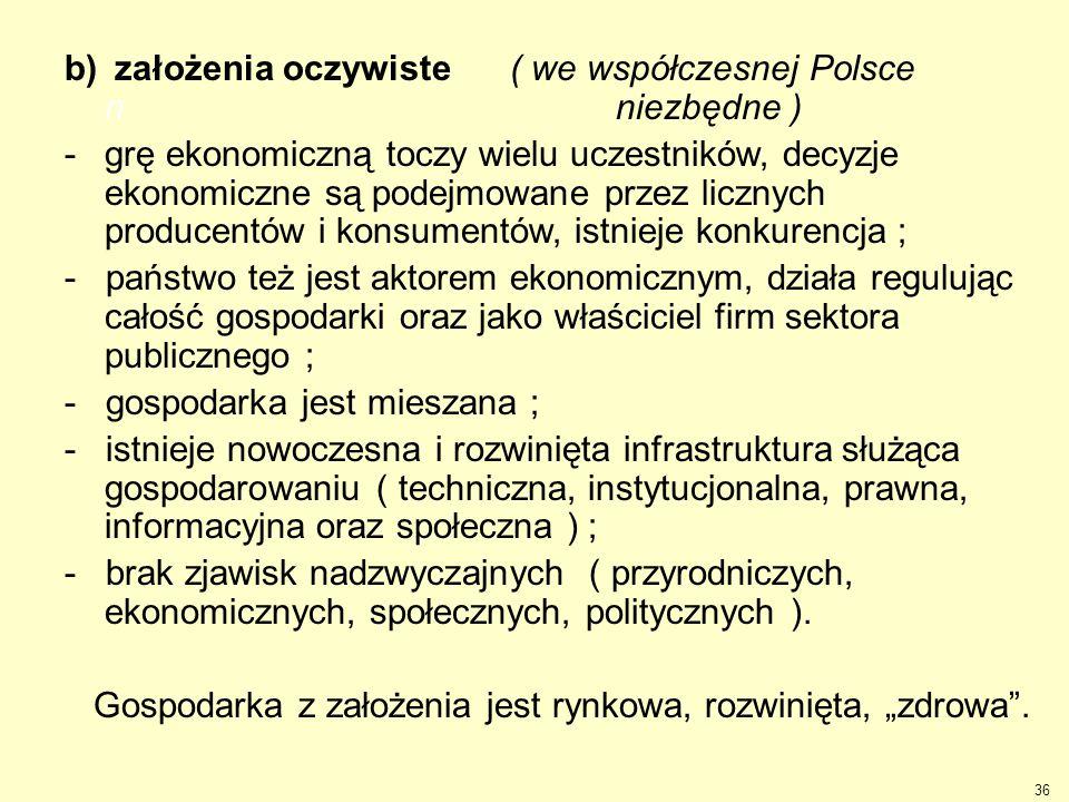 b) założenia oczywiste ( we współczesnej Polsce n niezbędne )