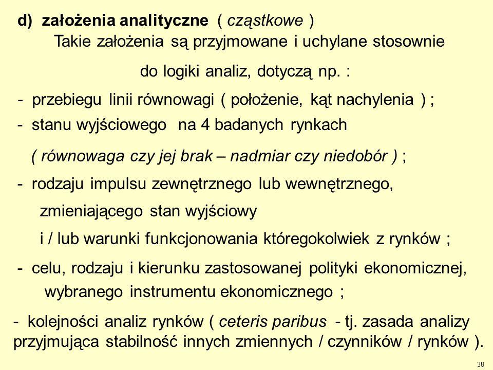d) założenia analityczne ( cząstkowe )
