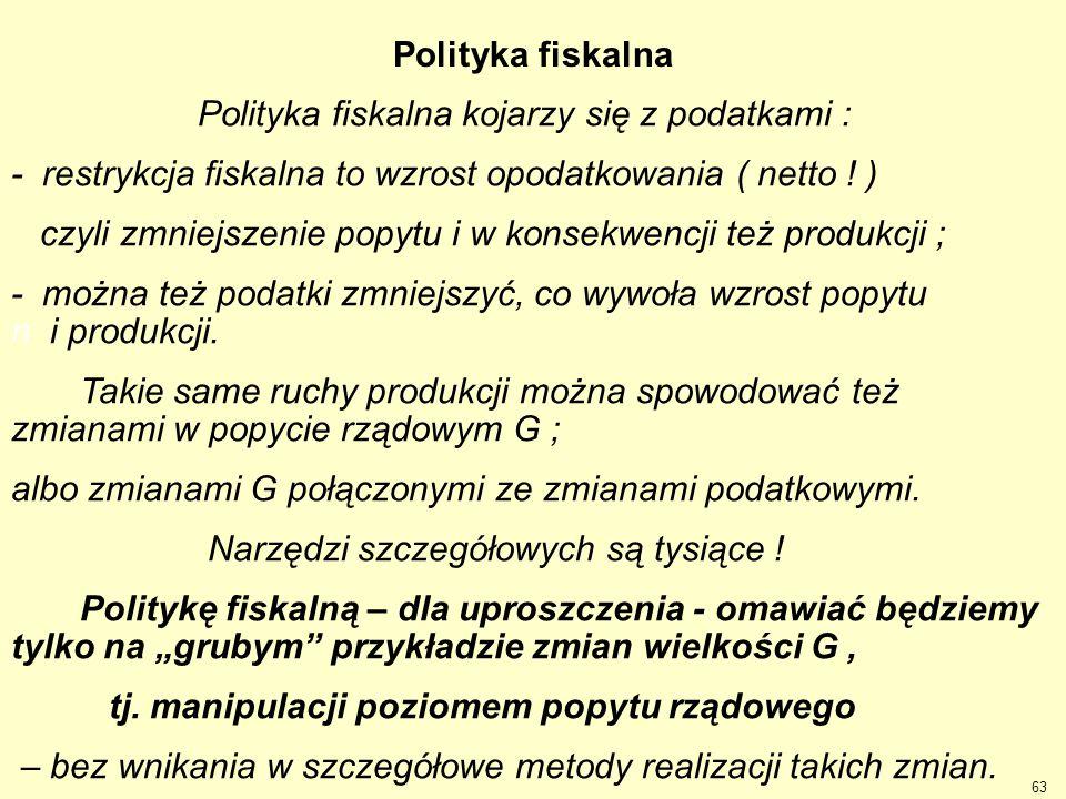 Polityka fiskalna Polityka fiskalna kojarzy się z podatkami : - restrykcja fiskalna to wzrost opodatkowania ( netto ! )