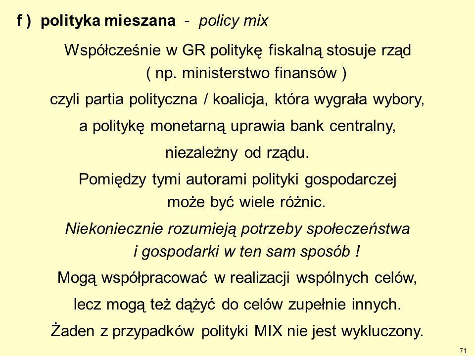 f ) polityka mieszana - policy mix