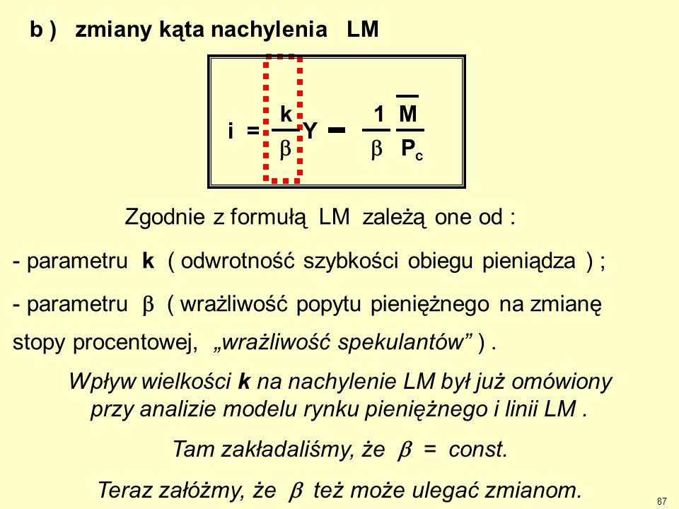 b ) zmiany kąta nachylenia LM