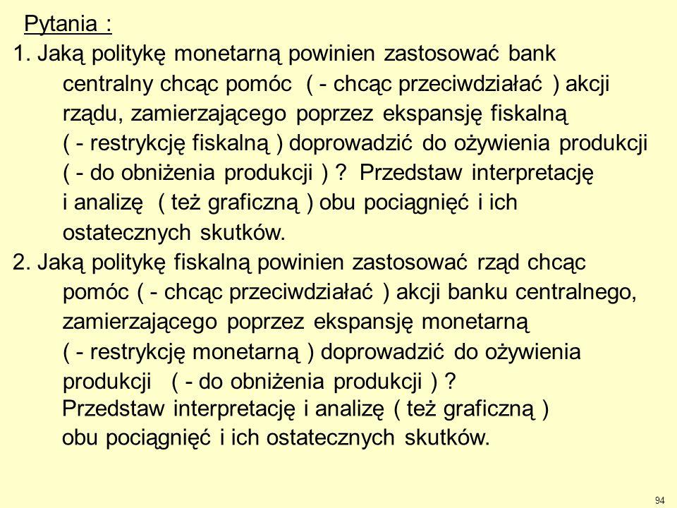 Pytania : 1. Jaką politykę monetarną powinien zastosować bank. centralny chcąc pomóc ( - chcąc przeciwdziałać ) akcji.