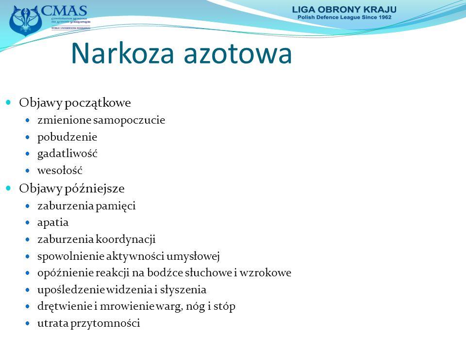 Narkoza azotowa Objawy początkowe Objawy późniejsze