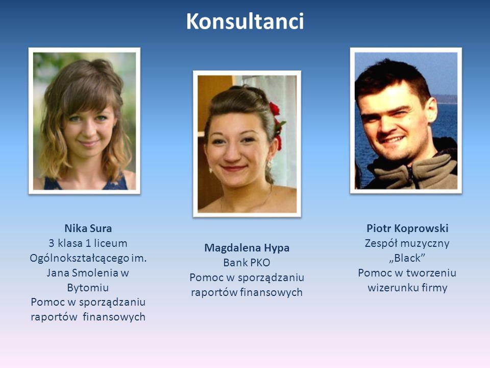 Konsultanci Nika Sura. 3 klasa 1 liceum Ogólnokształcącego im. Jana Smolenia w Bytomiu. Pomoc w sporządzaniu raportów finansowych.