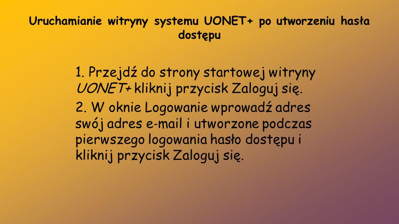 Uruchamianie witryny systemu UONET+ po utworzeniu hasła dostępu