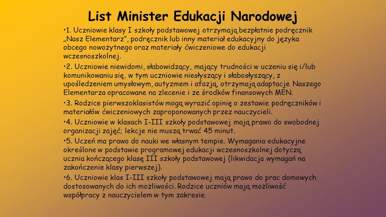 List Minister Edukacji Narodowej
