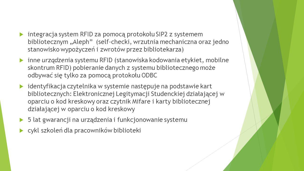 """integracja system RFID za pomocą protokołu SIP2 z systemem bibliotecznym """"Aleph (self-checki, wrzutnia mechaniczna oraz jedno stanowisko wypożyczeń i zwrotów przez bibliotekarza)"""