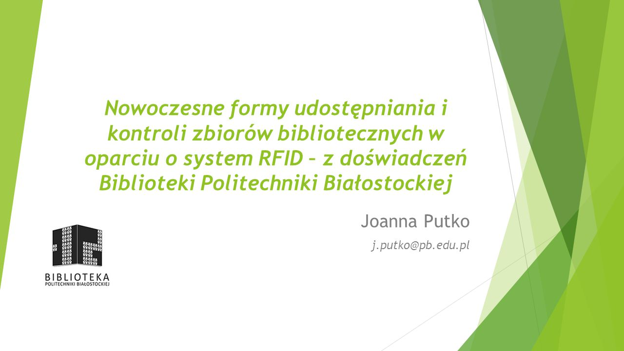 Joanna Putko j.putko@pb.edu.pl