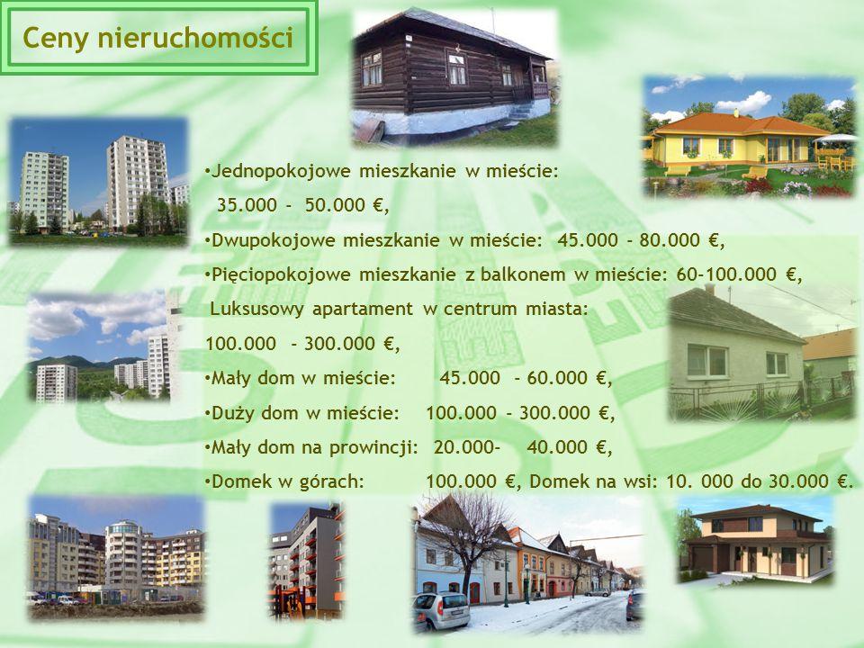 Ceny nieruchomości Jednopokojowe mieszkanie w mieście: