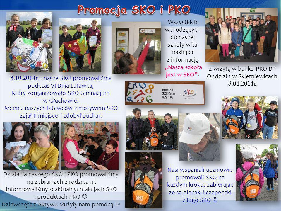 Promocja SKO i PKO Wszystkich wchodzących do naszej szkoły wita naklejka z informacją.