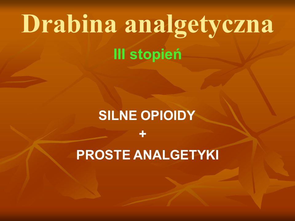 Drabina analgetyczna III stopień SILNE OPIOIDY + PROSTE ANALGETYKI