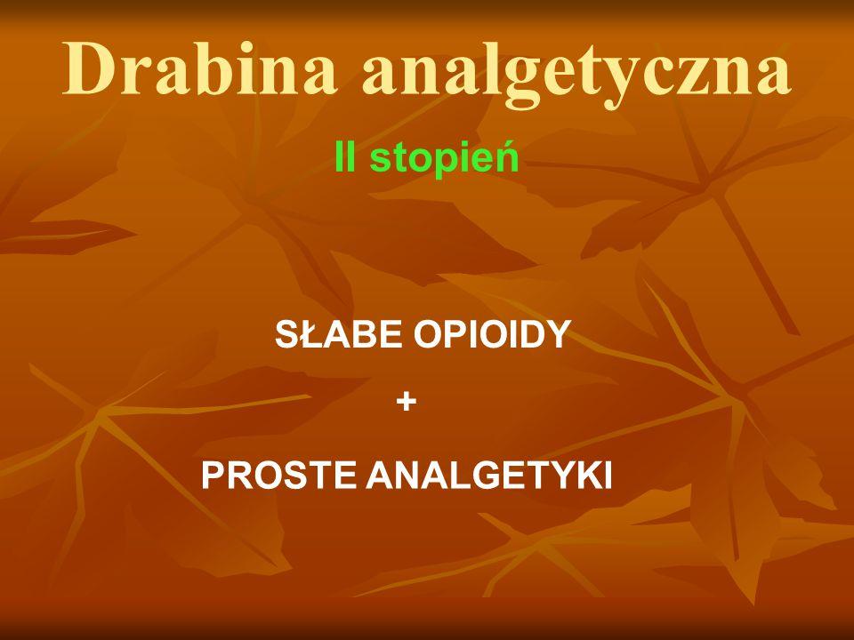 Drabina analgetyczna II stopień SŁABE OPIOIDY + PROSTE ANALGETYKI