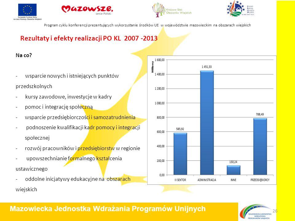 Rezultaty i efekty realizacji PO KL 2007 -2013