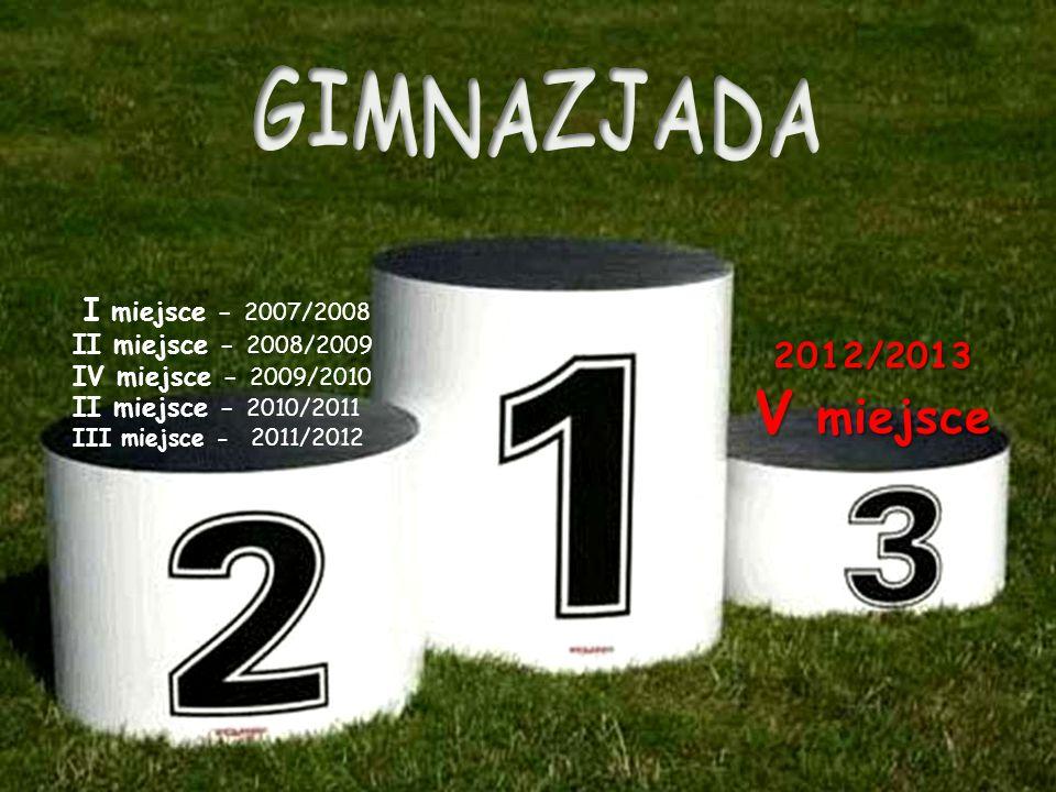 V miejsce GIMNAZJADA 2012/2013 I miejsce - 2007/2008
