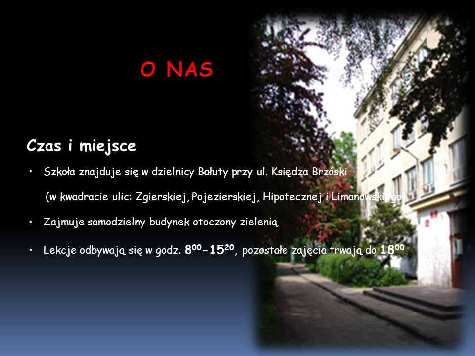 O NAS Czas i miejsce. Szkoła znajduje się w dzielnicy Bałuty przy ul. Księdza Brzóski.