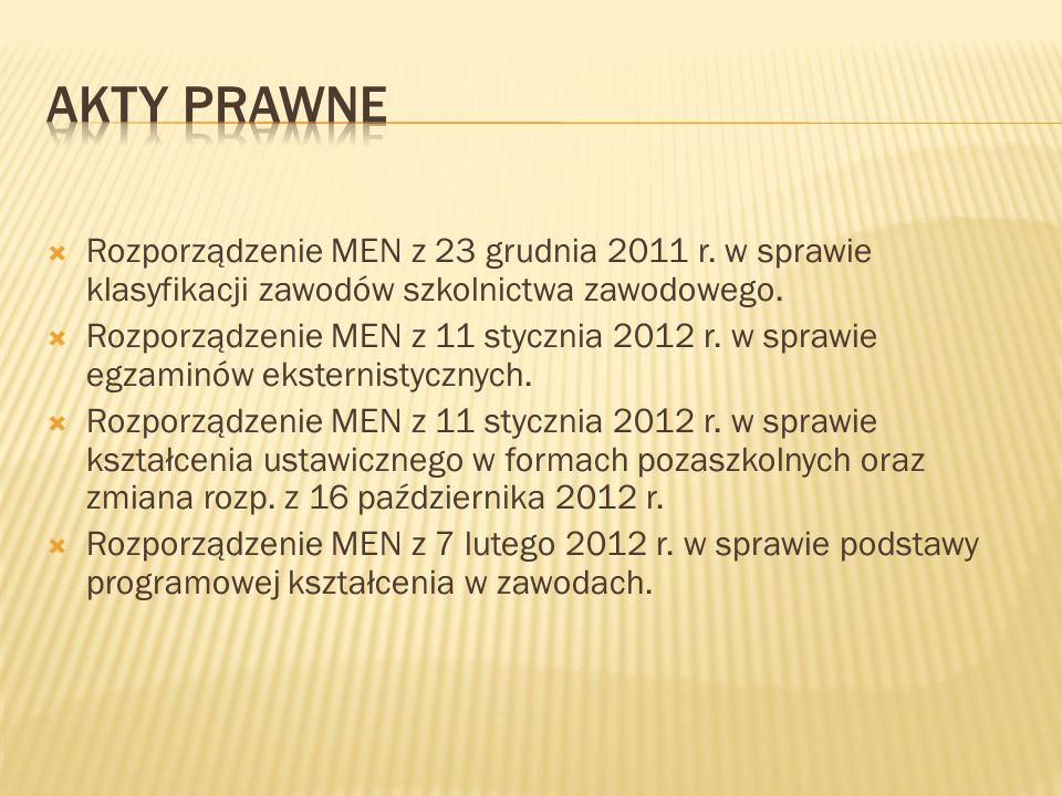 Akty prawne Rozporządzenie MEN z 23 grudnia 2011 r. w sprawie klasyfikacji zawodów szkolnictwa zawodowego.