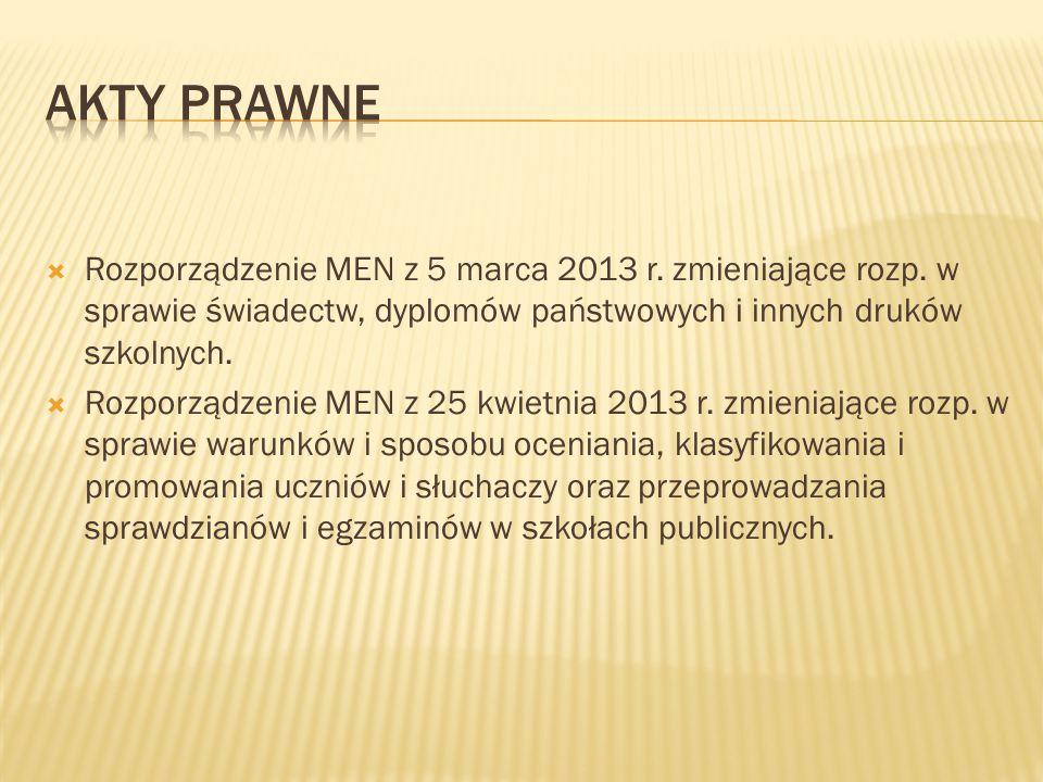 Akty prawne Rozporządzenie MEN z 5 marca 2013 r. zmieniające rozp. w sprawie świadectw, dyplomów państwowych i innych druków szkolnych.