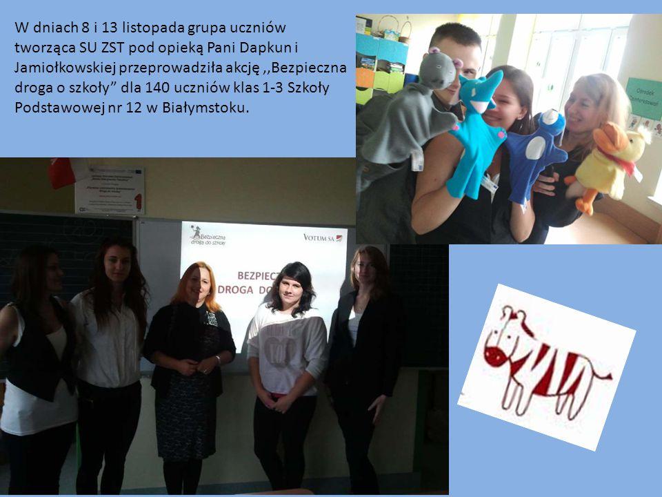 W dniach 8 i 13 listopada grupa uczniów tworząca SU ZST pod opieką Pani Dapkun i Jamiołkowskiej przeprowadziła akcję ,,Bezpieczna droga o szkoły dla 140 uczniów klas 1-3 Szkoły Podstawowej nr 12 w Białymstoku.