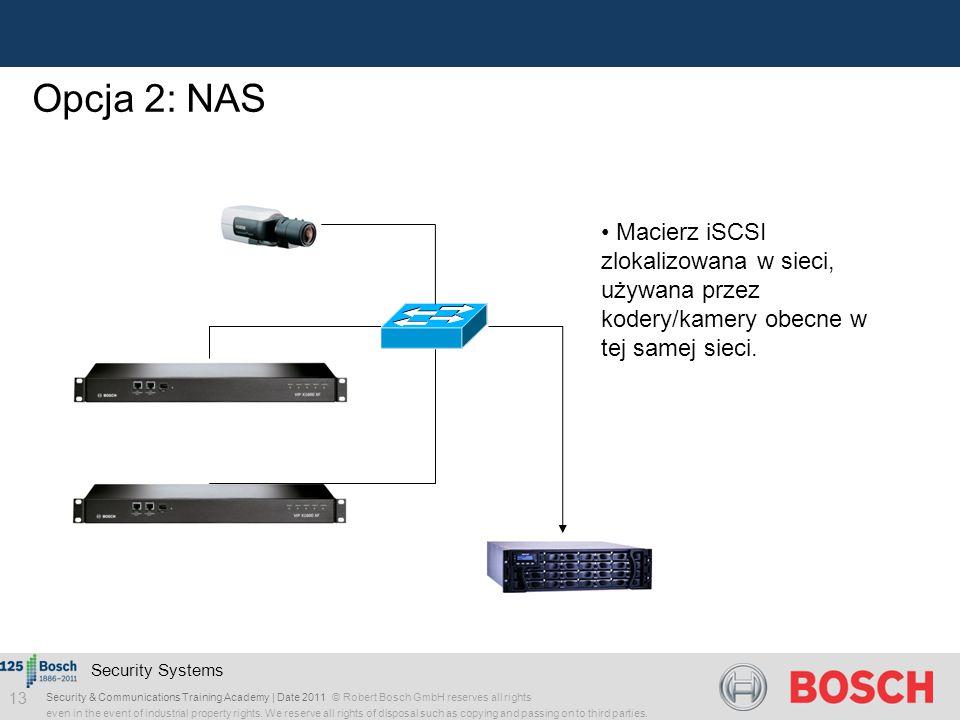 Opcja 2: NAS Macierz iSCSI zlokalizowana w sieci, używana przez kodery/kamery obecne w tej samej sieci.