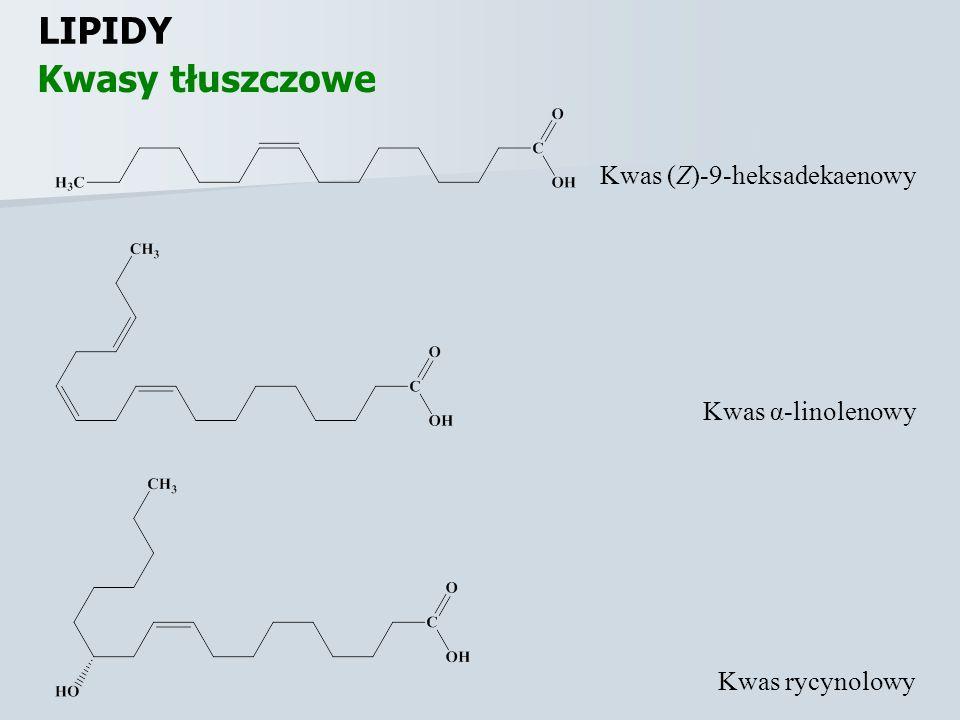 LIPIDY Kwasy tłuszczowe Kwas (Z)-9-heksadekaenowy Kwas α-linolenowy