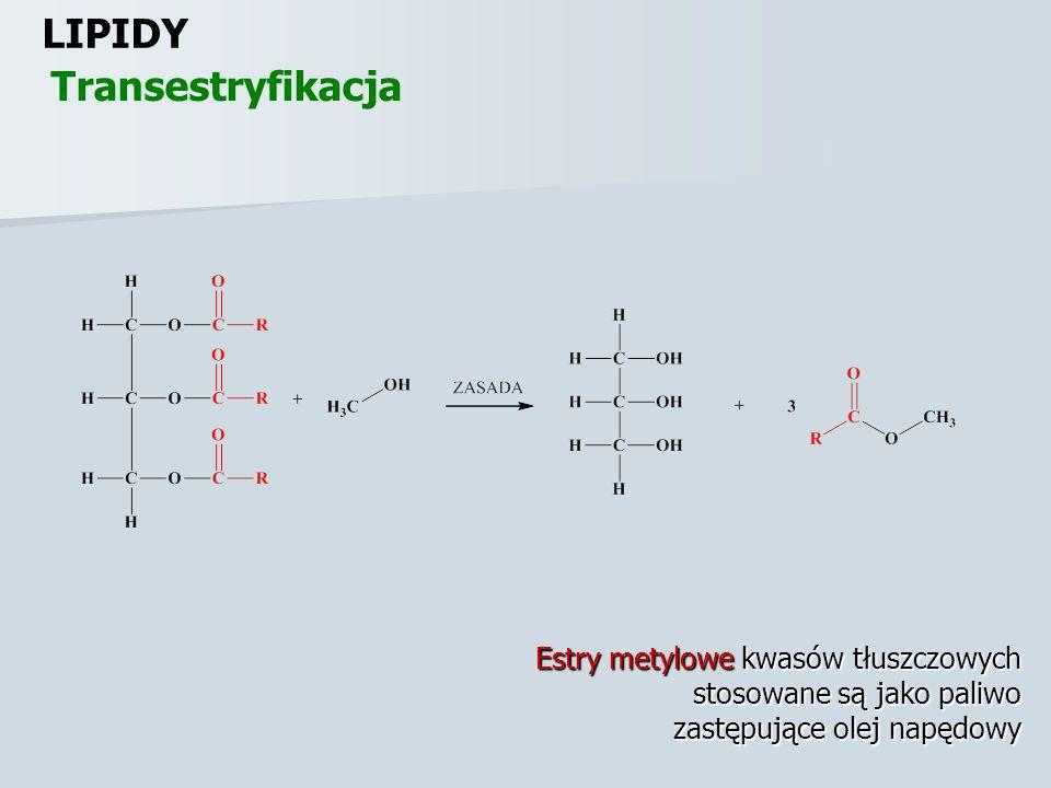 LIPIDY Transestryfikacja Estry metylowe kwasów tłuszczowych