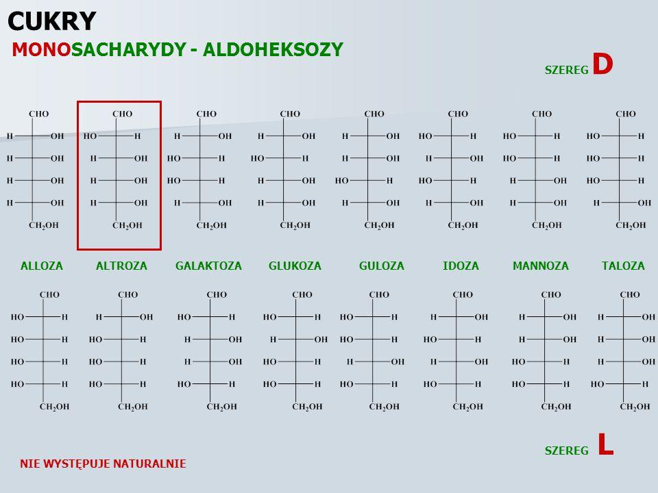 CUKRY MONOSACHARYDY - ALDOHEKSOZY SZEREG D ALLOZA ALTROZA GALAKTOZA